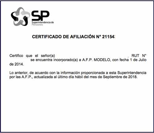 certificado afiliación afp modelo