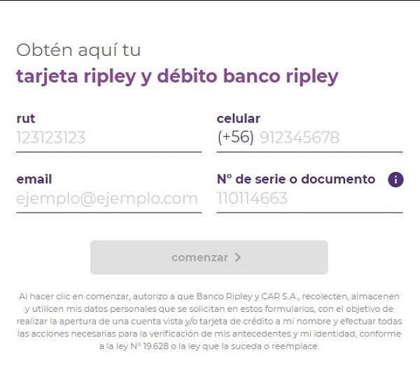 solicitar tarjeta ripley