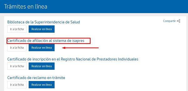 certificado afiliación Isapre