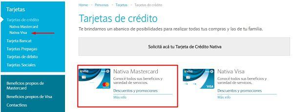 tarjeta de crédito nativa